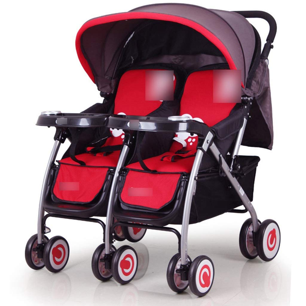 XW Baby Stroller Can Sit Reclining Foldable Second Child Car Double Trolley Dragon Baby Stroller (Color : RED, Size : 10083.577CM)