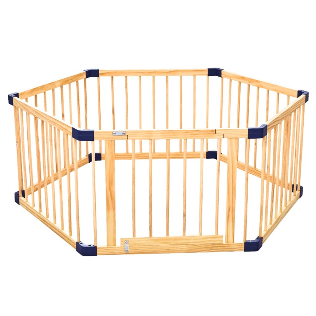 Wood Toddler Playpen Fence with Door, 6 Panel, Indoor Outdoor Baby Girl Boys Safety Play Center Yard, Height 60CM