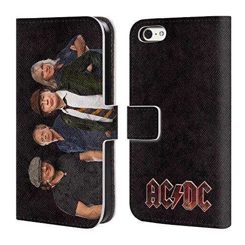 Officiel AC/DC ACDC Studio D'Équipage A Tiré Photo De Groupe Étui Coque De Livre En Cuir Pour Apple iPhone 5c