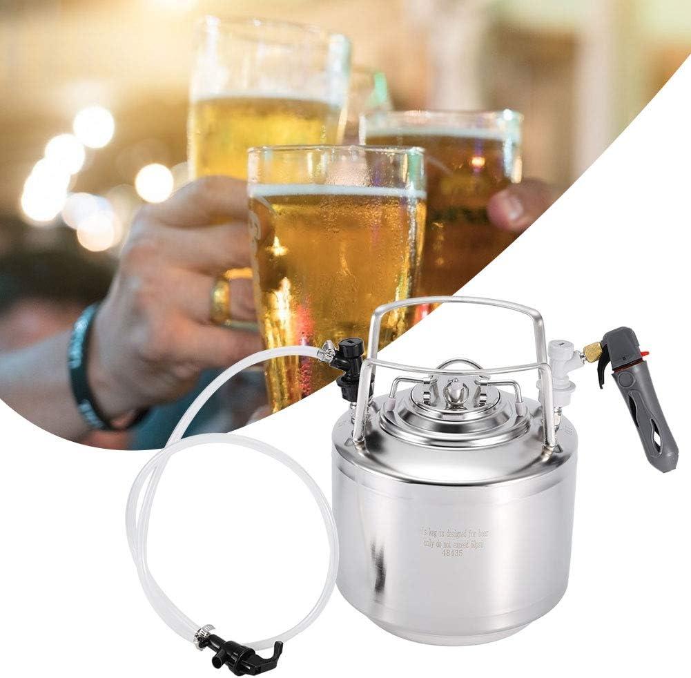 Kit de dispensador de barril de cerveza a presión, sistema de barril de cerveza de acero inoxidable con grifo de manguera para almacenamiento de cerveza Kit de dispensador de dispensador(6L)