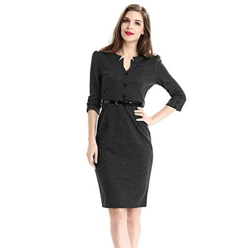 Colyanda Women's Sexy V-neck 3/4 Sleeve Pleated Casual Stretch Pencil Dress