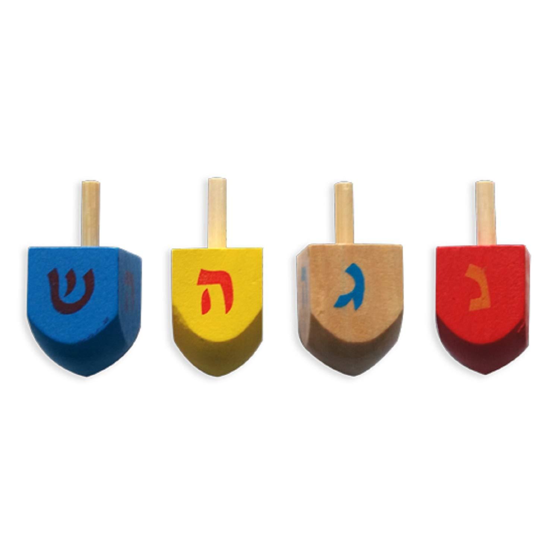 Le sevivon (hébreu) ou dreydel (yiddish) une toupie pour la fête juive de Hanoucca, 4 petite toupies du bois naturel Cazenove