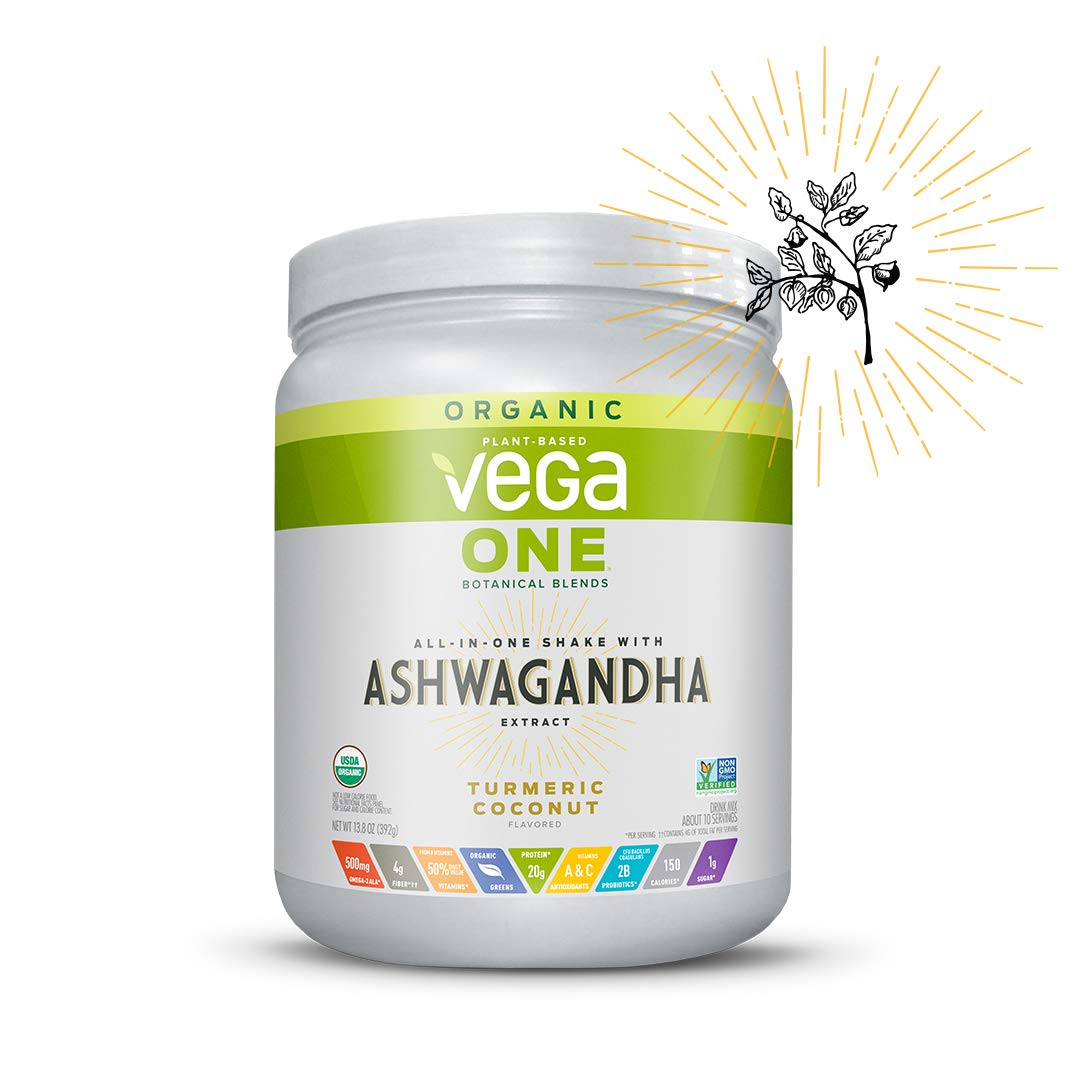Vega One Organic Botanical Blends Turmeric Coconut with Ashwangandha (10 servings, 13.83 oz) - Plant Based Vegan Protein Powder, Non Dairy, Gluten Free, Non GMO