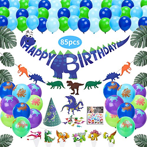 85 Packs Dinosaur Party Supplies - Kids Birthday Dino Theme Party Favors Decorations | Mini Dinosaur Toys, Cake Toppers, Dino Banner, Tattoo Stickers, Balloons for Kids Birthday Party, Baby Shower