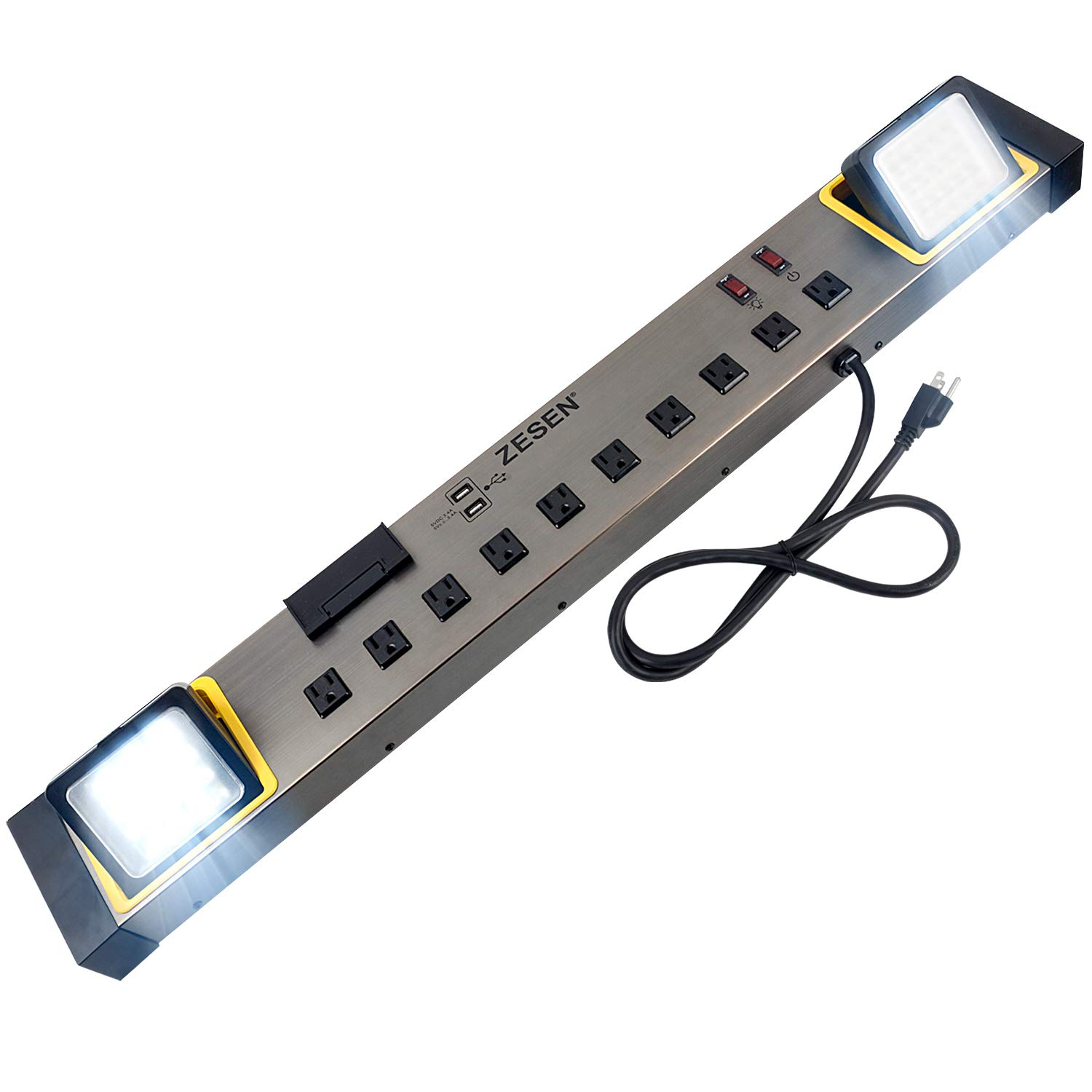 ZESEN 10-Outlet Power Strip with LED Worklight Surge Protector 4ft Cord with Dual Smart USB, Workshop/Garage/Office/Home, ETL Listed