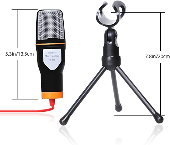 Black Stouch Condenser Microphone for iPhone 6 6S Plus iPad Pro Samsung Galaxy S6 S7 Edge Android Phones xBox PC Computer with Chatting Recording Singing