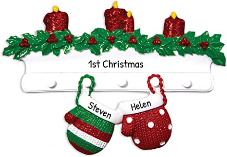 Keepsake Christmas Ornament Year Dated, Filled With Fun! Stocking 2021 Amazon Com Personalized Mitten Family Of 2 Christmas Tree Ornament 2021 Knit Winter Stocking Gloves Mantle Candles Couple Children Friend Glitter Gift Tradition First Love Year Free Customization Two Home Kitchen