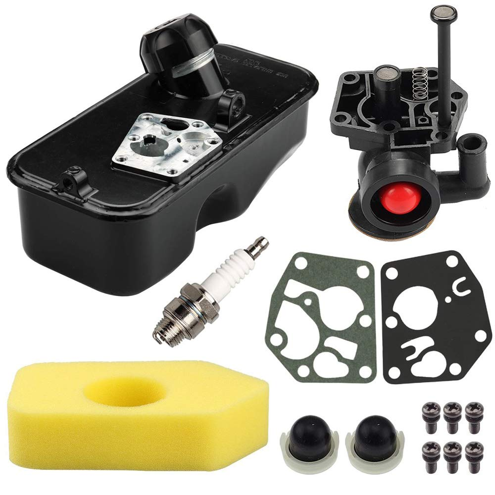 LIYYOO 795477 Carburetor + 494406 Fuel Tank + 698369 Air Filter Kit for Briggs & Stratton 498809 498809A 795469 794147 699660 794161 498811 Engine Carburetor