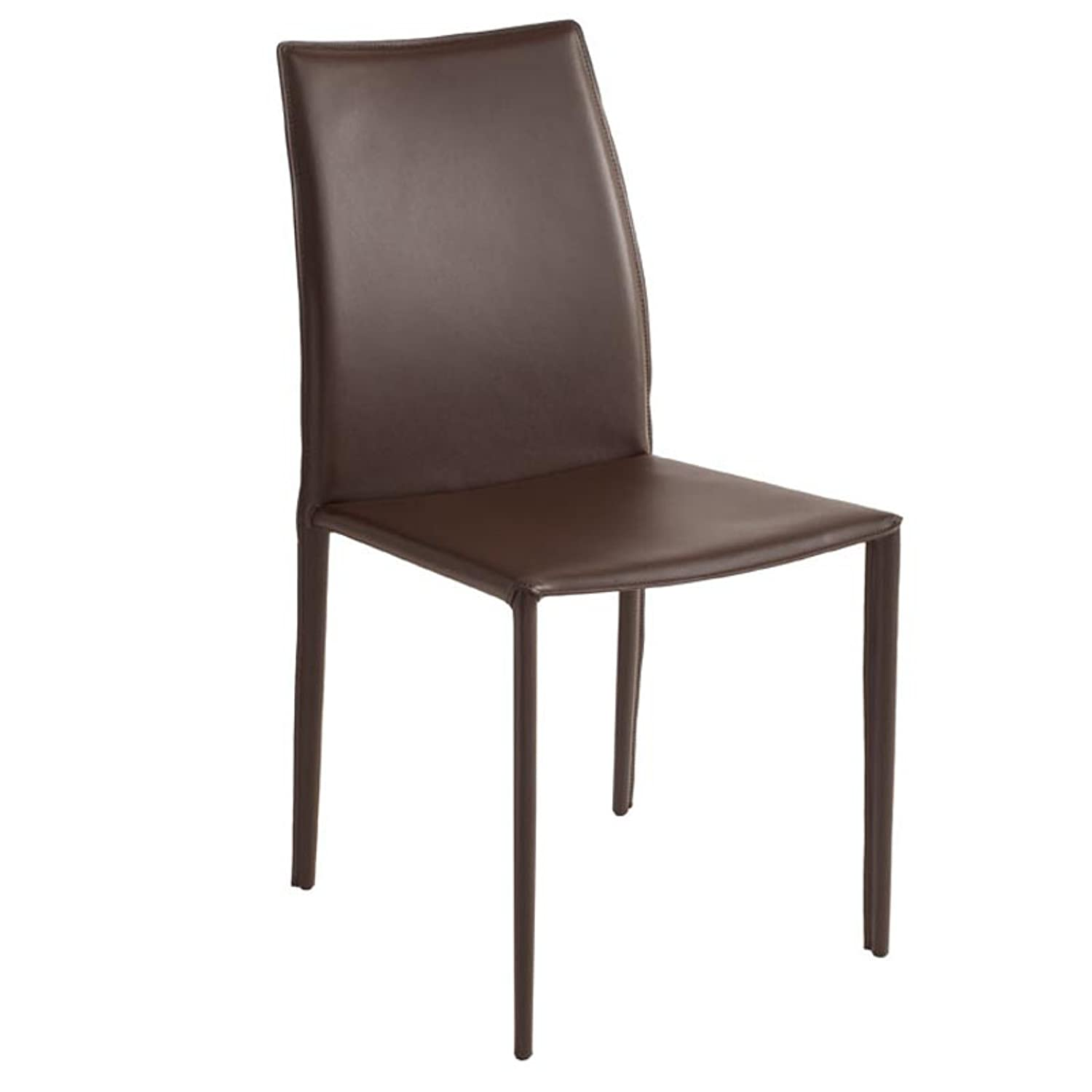 Nuevo Sienna Leather Dining Side Chair in White