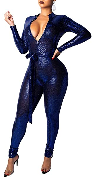 b8130397dd Women s Sexy Glitter Deep V Neck Long Sleeve Bodycon Zip Up Jumpsuits  Rompers with Belt RoyalBlue