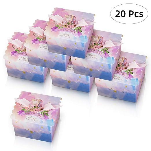 Wisolt 20pcs Unicornio caja de dulces para cumpleaños/boda ...
