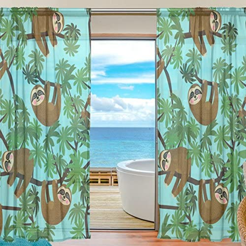 ALAZA Cooper Girl Cute Jungle Sloths Sheer Window Curtain Panel Drape 55×84 Inch for Living Room Bedroom Kids Room 2 Piece