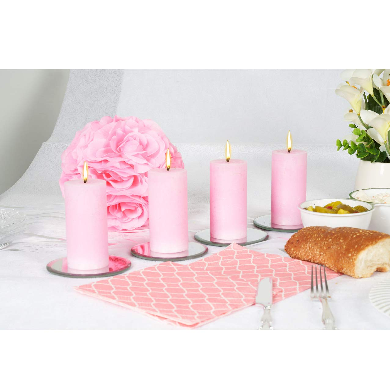 100X50mm Pink Rustic Pillar Party Wedding Candles Aprox BOLSIUS 8 Pk 2X4 Inches