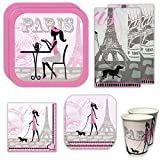 Paris Deluxe Party Packs (70+ Pieces for 16 Guests!), Paris Party Supplies, French Styled Plates, Cups, Napkins, Decorations