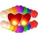 PROMOZIONE: 22 PZ Lanterne cinesi volanti (20 PZ lanterne multicolore Misti + 2 PZ lanterne cuori rossi giganti) Lanterna Cinese Volante del cielo regalo di compleanno matrimonio San Valentino romantico serata romantica sorpresa festa spettacolo all'aperto in carta di riso non infiammabile