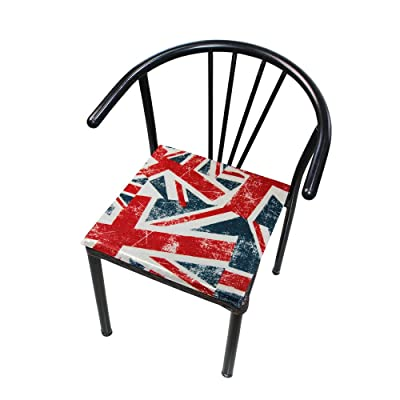 """Bardic HNTGHX Outdoor/Indoor Chair Cushion Vintage UK Flag Square Memory Foam Seat Pads Cushion for Patio Dining, 16"""" x 16"""": Home & Kitchen"""