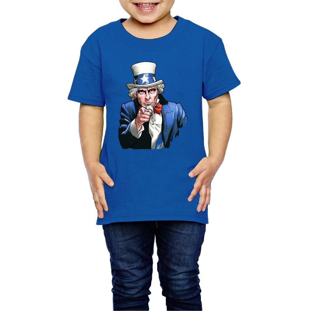 Girls Uncle Sam Wants You T Shirt Photoshoots Or Hiking Camping Travel Vacation T-Shirt Or Daily Wear RoyalBlue 4 Toddler by BWI1IBV32I (Image #1)