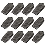 BTMB 12 Pcs Rubber Wedge Door Stoppers Premium Doorstop Non-Scratching Door Holders (Grey)