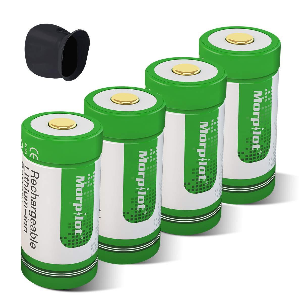 Morpilot 4pcs rcr123 a充電式Arloカメラ、バッテリー700 mAh保護された充電式Li - Ion電池withカメラスキン、バッテリーケースfor Arlo vms3030 /3230 /3330 /3430カメラ B07B6NV5T1