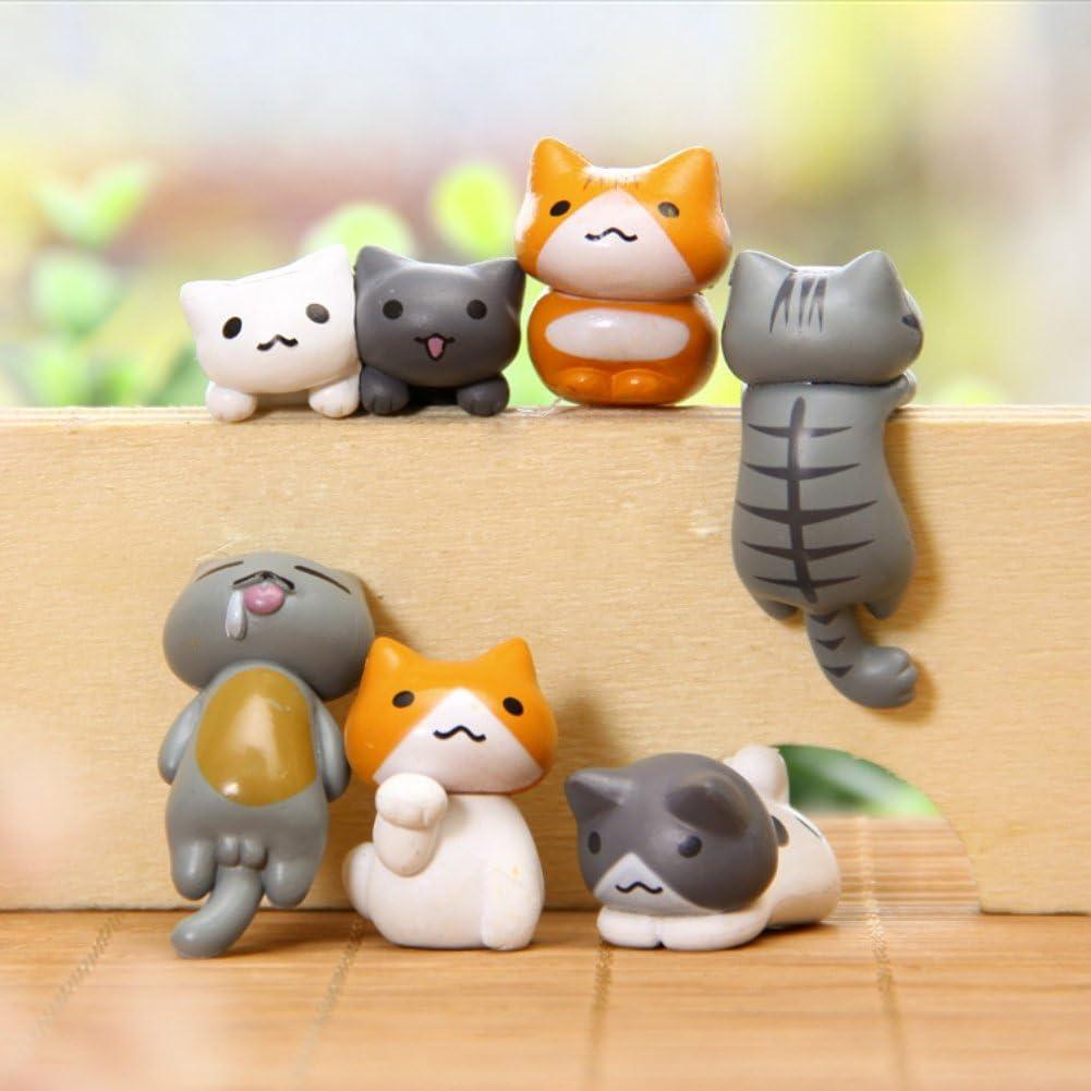 Coherny Cute 6 Piece Miniature Fairy Garden Cat Ornament Outdoor Decor Home Decoration