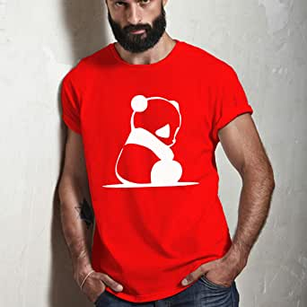 Cotton Printed T-shirt for Men, Size XL, Red and White