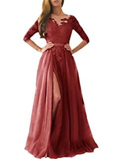 Ruisha Women Lace Long Sleeves Prom Dresses 2018 Long Tulle High Slit Formal Evening Gowns RS0080