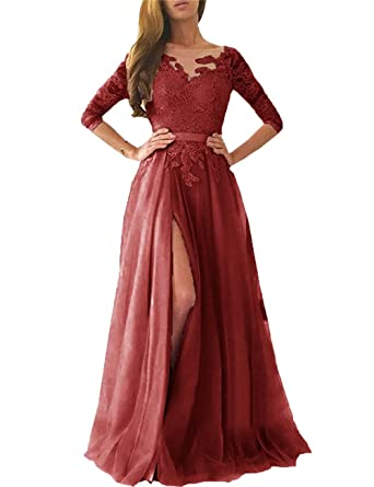 5491c6b7fa Ruisha Women Lace Long Sleeves Prom Dresses 2018 Long Tulle High Slit  Formal Evening Gowns RS0080