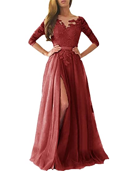 58742fee4fd2e Ruisha Women Lace Long Sleeves Prom Dresses 2019 Long Tulle High Slit  Formal Evening Gowns RS0080