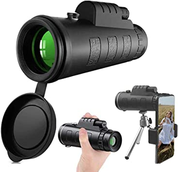 Monocular Telescope Night Vision Waterproof Scope with Smartphone Holder /& Phone Tripod /& BAK4 Prism FMC for Bird Watching Camping Hiking 40x60 High Power HD Compact Monocular for Adults Kids