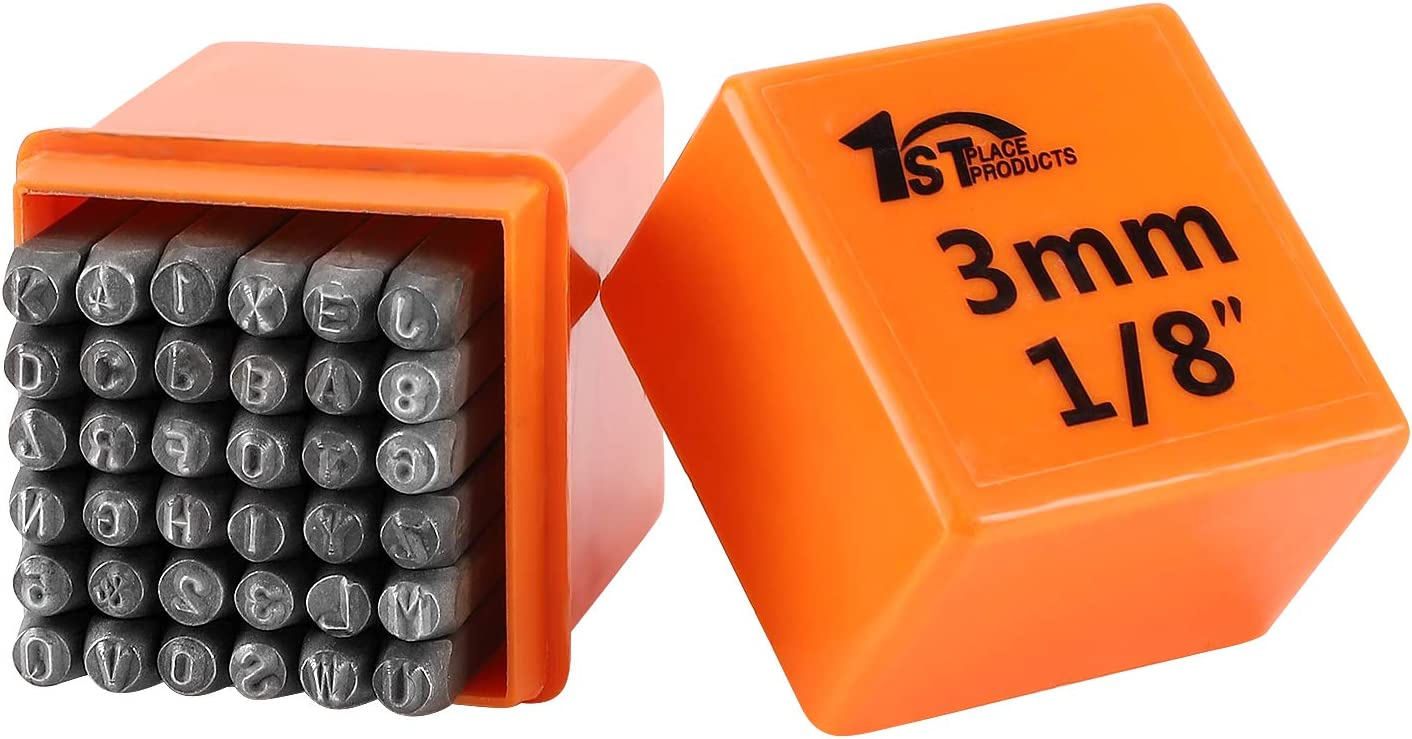 Plastic Wood Leather /& More Capital Letters /& Numbers - Harden Carbon Steel 1//8 Perfect for Metal A-Z and 0-9 + /& 1st Place Products 36 Piece 3mm Metal Stamp Set