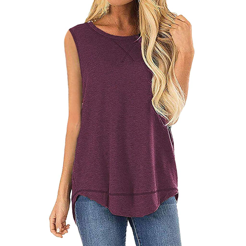 Deals Tank Tops for Women Casual Summer Sleeveless Stitched Detail Blouses Splice Shirts Tops Wine