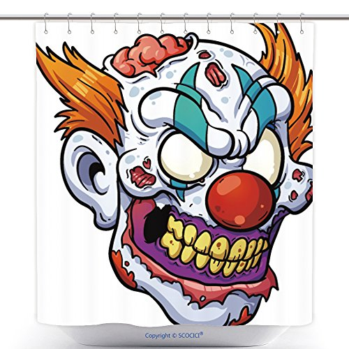 Unique Shower Curtains Zombie Clown Head Vector Clip Art Illustration With Simple Gradients All In A Single Layer 188379575 Polyester Bathroom Shower Curtain Set With (Scary Clown Costumes Ebay)