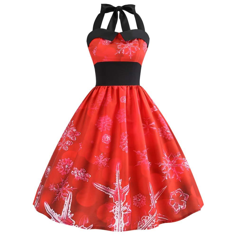 Fantaisiez Robe de Noël Femmes Imprimé Robe de Balançoire Vintage Robe de Soirée Cou Suspendu Licou sans Manches Robe de Festival Rouge