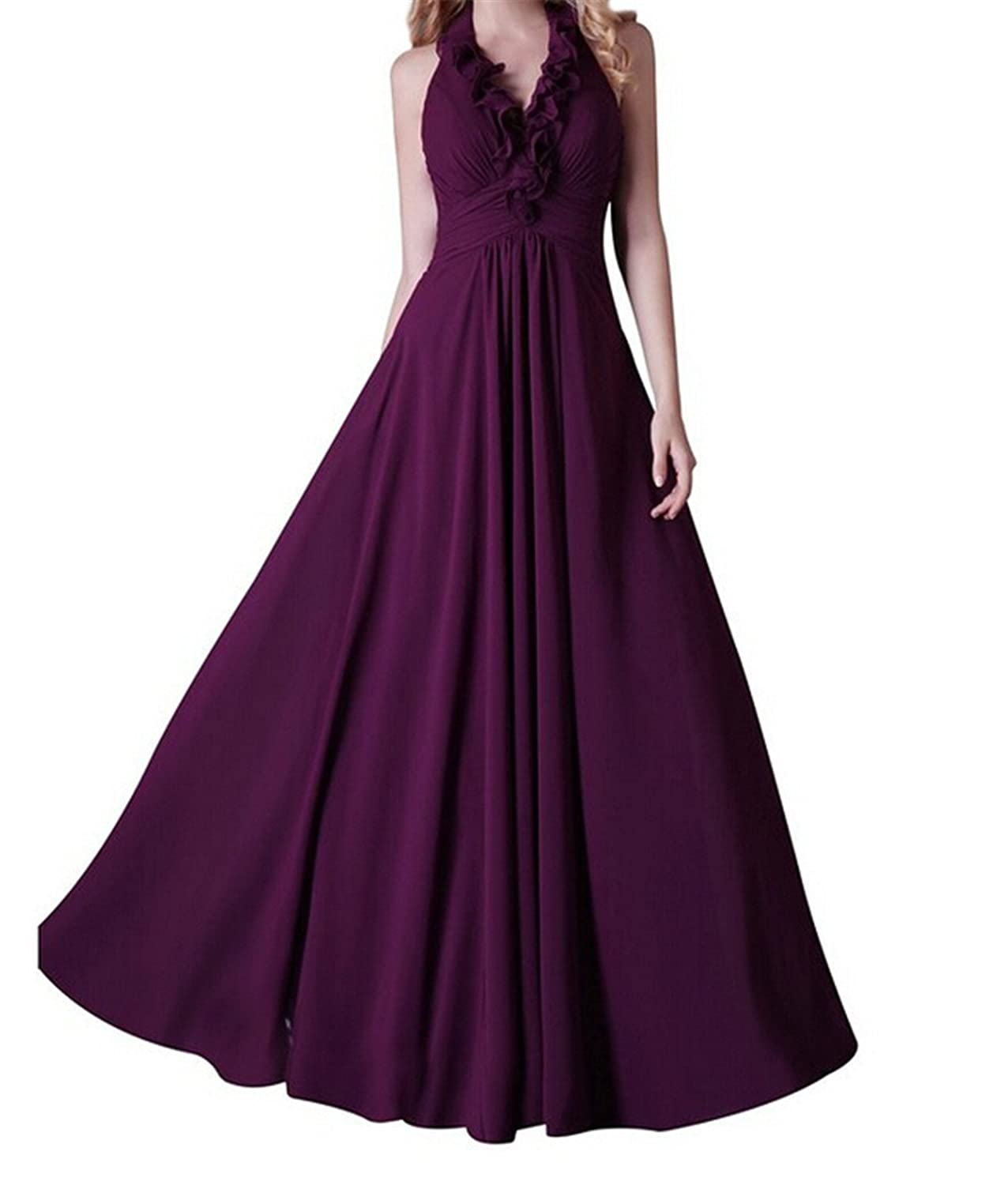 AngelDragon A-Line Halter Long Party Prom Dresses Chiffon Evening Gowns