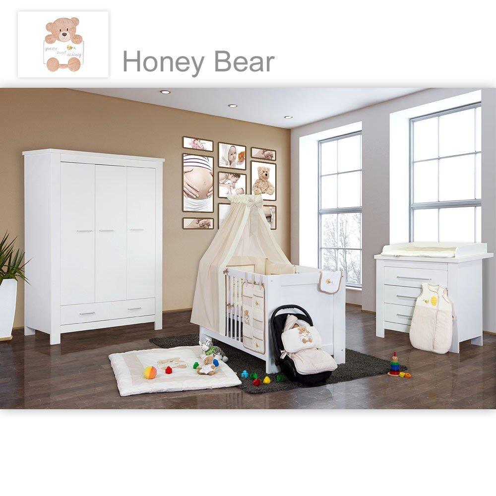 Babyzimmer Enni in weiss 10 tlg. mit 3 türigem Kl. + Textilien von Honey Bear