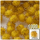 The Crafts Outlet Chenille Sparkly Pom Poms, Gold porcupine, 1.0-inch (25-mm), 1000-pc, Yellow