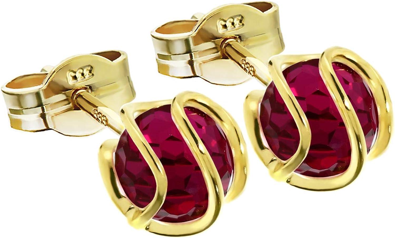 NKlaus paire de boucles doreilles boules 333 or jaune boucles doreilles sph/ère synth rubis 7mm femmes 7754