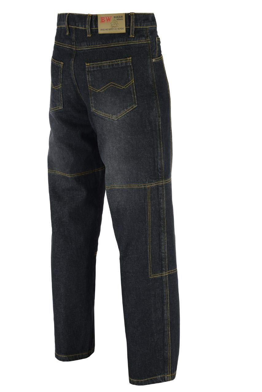 MOTORBIKE DENIM JEANS CE ARMOURED PROTECTIVE LINING SAFETY PANT TROUSERS BLACK, W34-L30