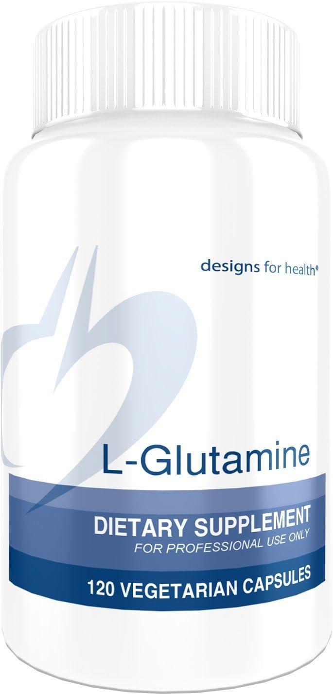 Designs for Health L-Glutamine Capsules 850mg – Amino Acid for Gut Immune Support 120 Capsules