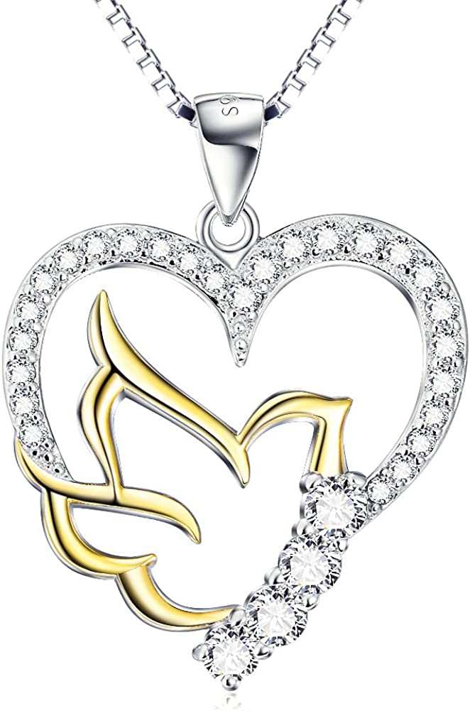 """Ladytree 925 Sterling Silver Doves Birds Faith Hope Love with Open Heart Pendant Necklace, 18"""""""