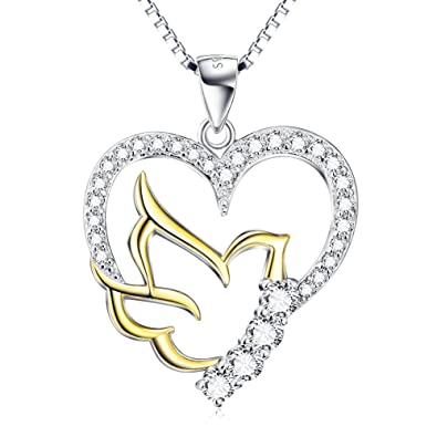 Amazon silver mountain 925 sterling silver doves birds faith silver mountain 925 sterling silver doves birds faith hope love with open heart pendant necklace aloadofball Images