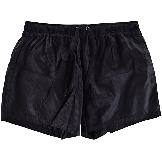 cbf4c9dc253928 MOSCHINO Mens Classic Jacquard Black Swim Shorts at Amazon Men's ...
