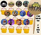 FORTNITE Battle Royale Cupcake Picks Double-sided Images Cake Topper -12, Video Game Truck Party
