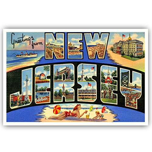 - GREETINGS FROM NEW JERSEY vintage reprint postcard set of 20 identical postcards. Large letter US state name post card pack (ca. 1930's-1940's). Made in USA.