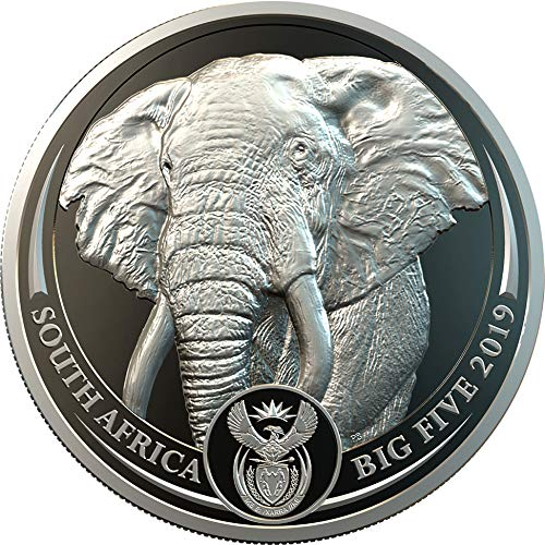 (2019 ZA Big Five Gold PowerCoin ELEPHANT Big Five 1 Oz Platinum Coin 20 Rand South Africa 2019 Proof)