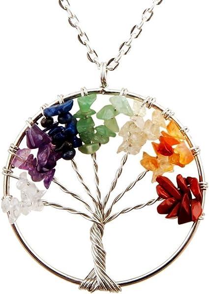 Natural Gem blue sand stone bead Egg shape 7 Chakra Healing Tree of Life Pendant