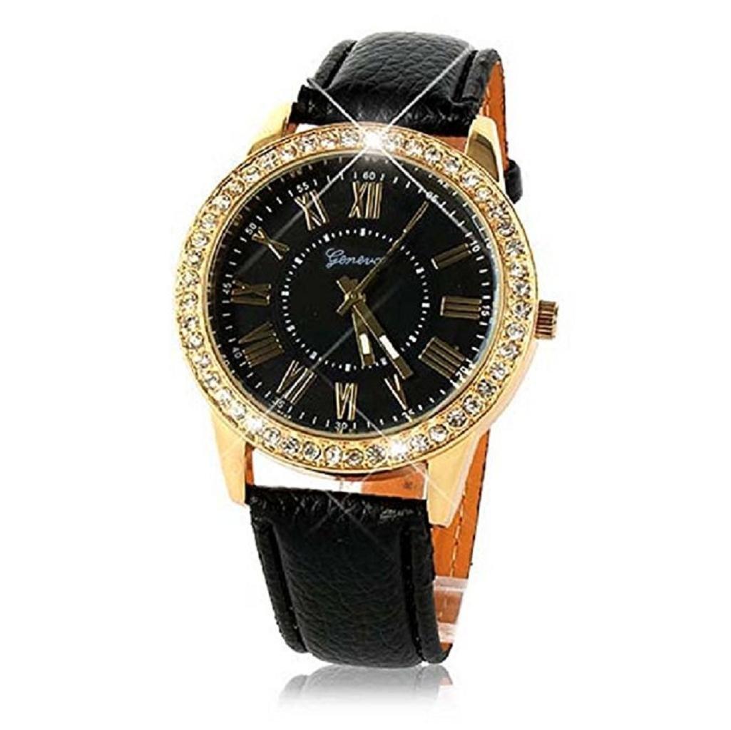 Noopvan Clearance Deal Watch, 2018 Women Bling Diamond Crystal PU Leather Band Quartz Wrist Watch (Black)