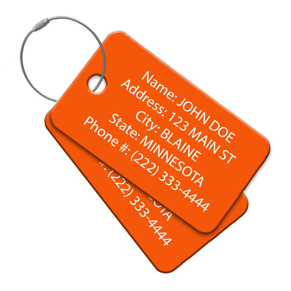 High Visibility Multi Pack Customized Tavel ID Tag - Luggage Tag - Golf Bag ID - Personalized ID Travel Tag - Imprinted Luggage Tag - luggage, bikes, sport equipment and more. (8)