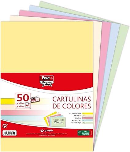 Fixo Paper 00001493 – Paquete de cartulinas de colores A4 – Surtido de colores claros, 50 unidades, 180g: Amazon.es: Oficina y papelería