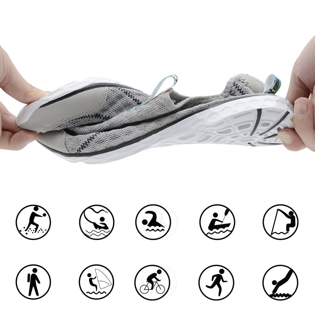 Raotes Quick Drying Aqua Water Shoes - Beach Walking Amphibious Shoes for Men Grey 45 by Raotes (Image #3)